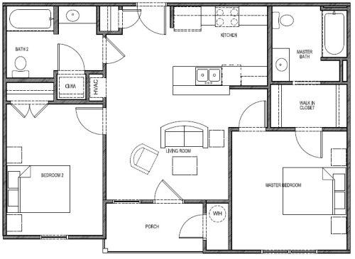 890 sq. ft. 60% - Paint floor plan