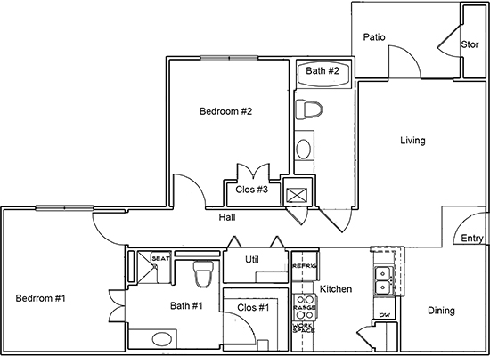 1,183 sq. ft. B1 ANSI floor plan