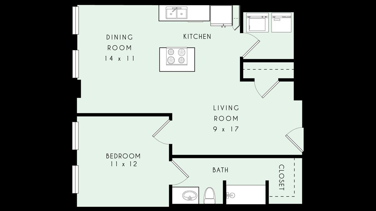 803 sq. ft. 80% floor plan
