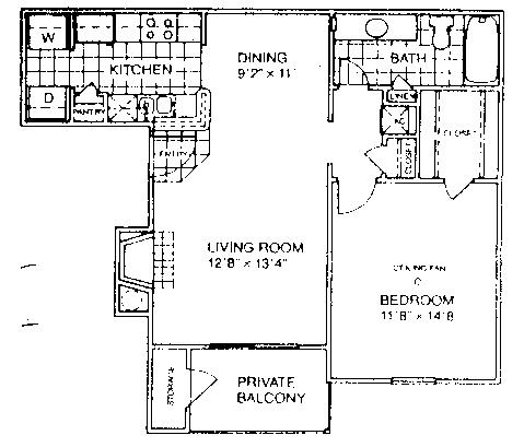 700 sq. ft. B1/60% floor plan