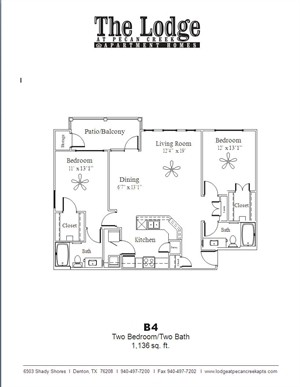 1,136 sq. ft. B4 floor plan