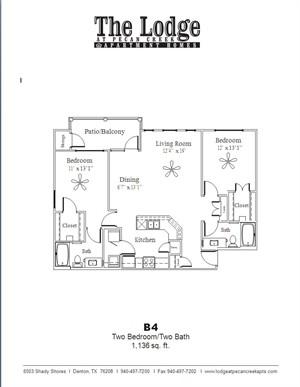 1,136 sq. ft. B4 floor plan