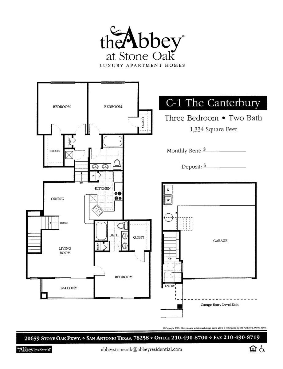 1,334 sq. ft. Canterbury floor plan