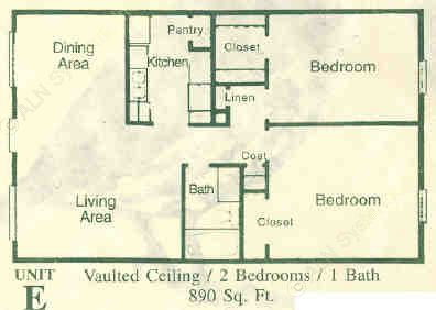 890 sq. ft. E floor plan