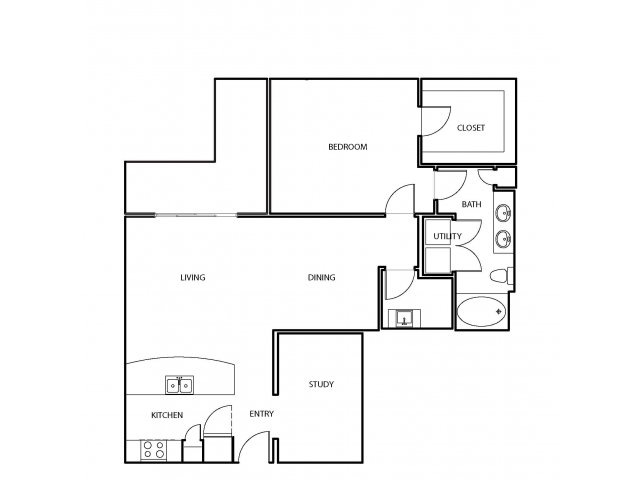 1,072 sq. ft. A12 floor plan