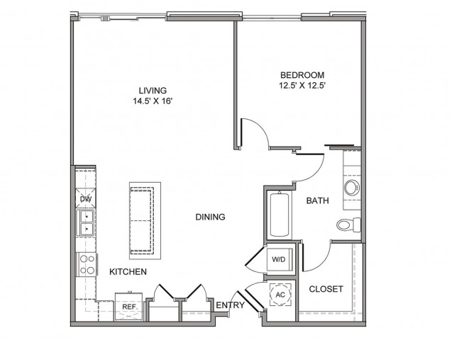 955 sq. ft. Elm floor plan