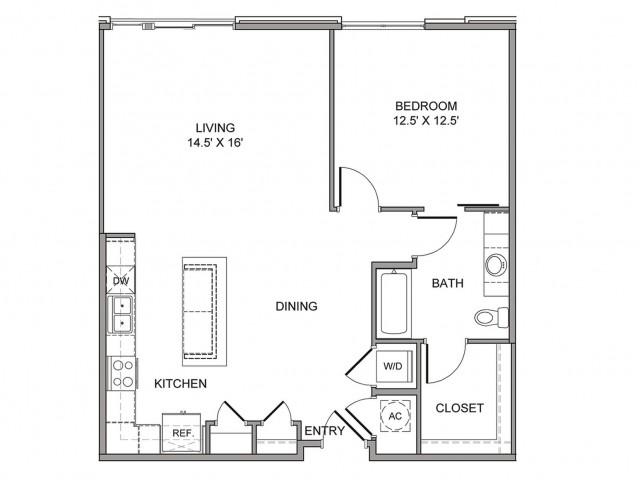 955 sq. ft. Elm floor plan