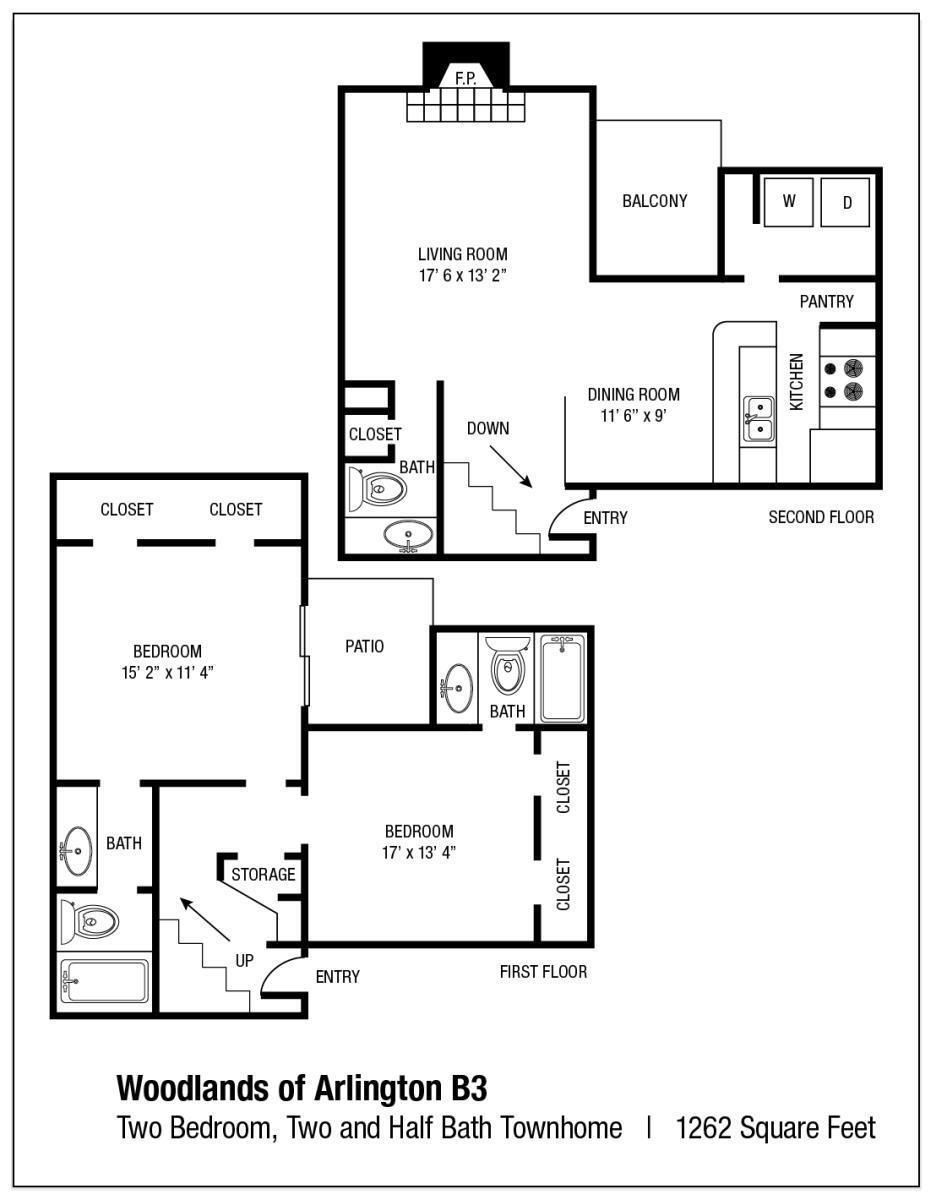 1,262 sq. ft. B3 floor plan