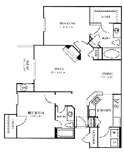 1,094 sq. ft. C floor plan