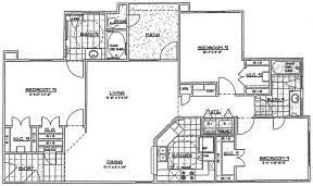 1,300 sq. ft. 2nd FLR/60% floor plan