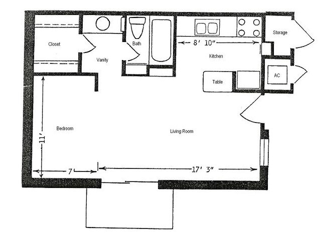 483 sq. ft. floor plan