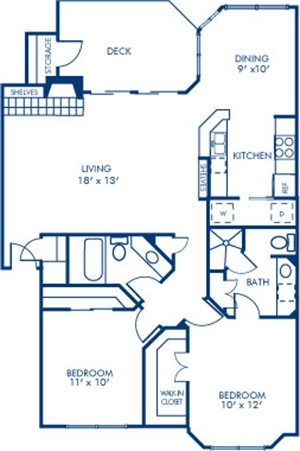 1,190 sq. ft. 2B4 floor plan