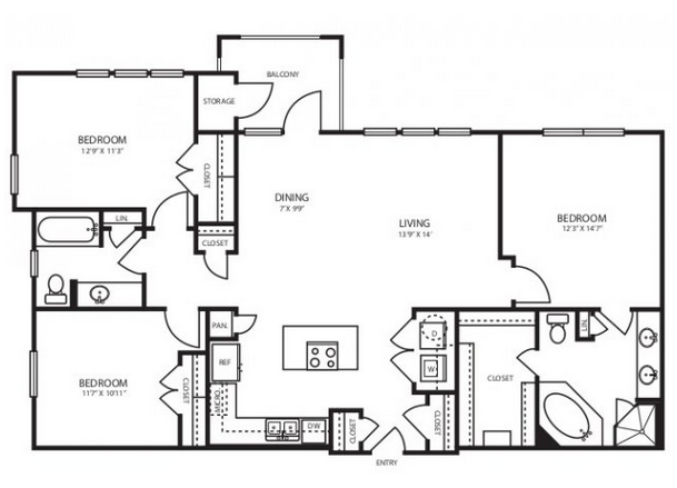 1,377 sq. ft. C1 floor plan