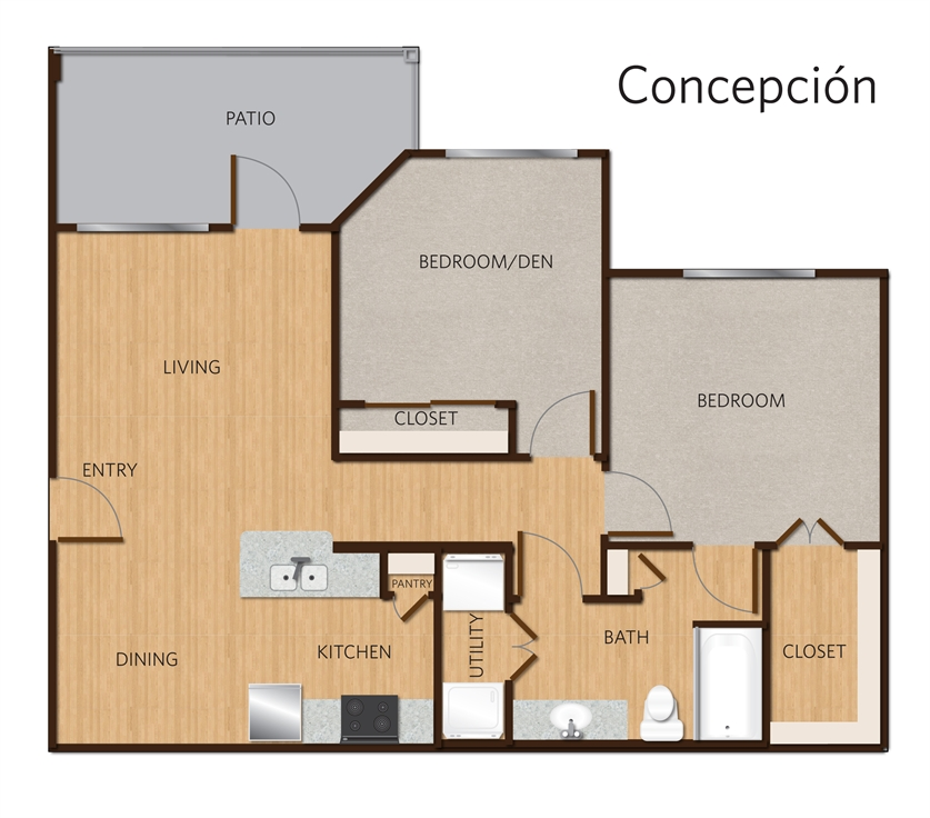 919 sq. ft. Concepcion B1 floor plan