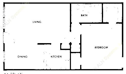 576 sq. ft. A3 floor plan