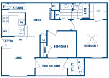 754 sq. ft. West floor plan