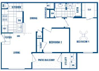 754 sq. ft. West floor plan