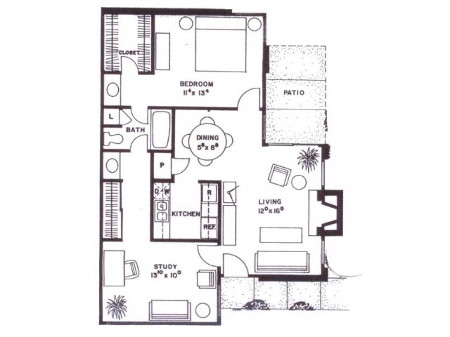 882 sq. ft. C8H floor plan