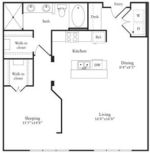 940 sq. ft. I-2 floor plan