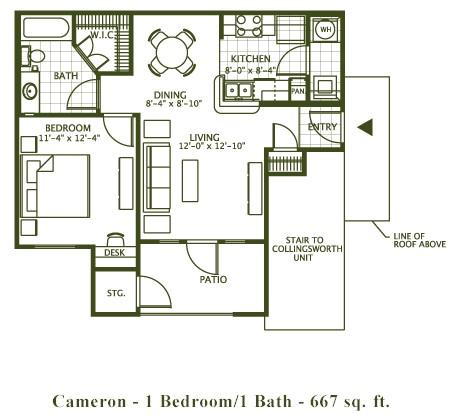 667 sq. ft. Cameron floor plan