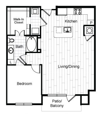 865 sq. ft. A6 floor plan