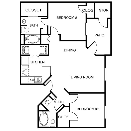 961 sq. ft. Orchard floor plan