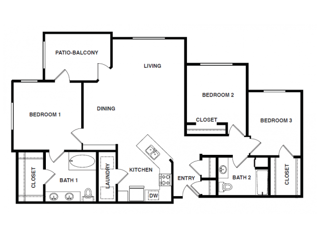 1,512 sq. ft. C1 floor plan