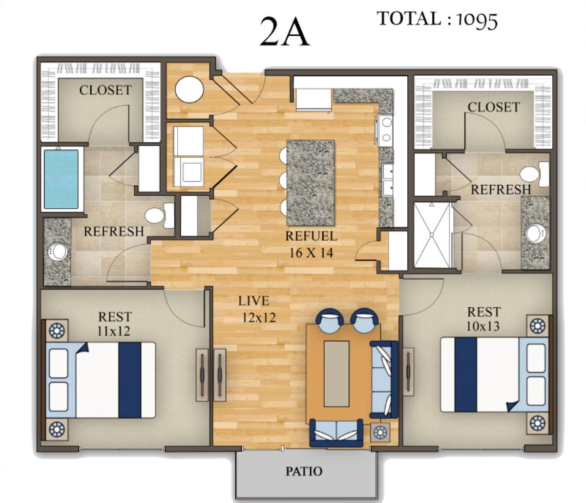 1,095 sq. ft. floor plan