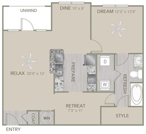 984 sq. ft. A6 floor plan