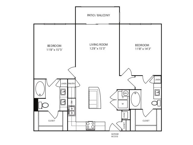 1,080 sq. ft. B1 alt 1 floor plan