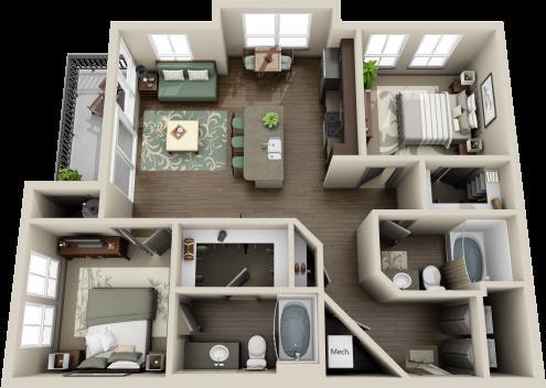 1,003 sq. ft. Colorado floor plan
