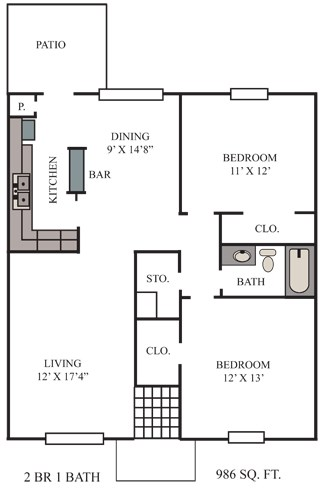 986 sq. ft. Shiner floor plan