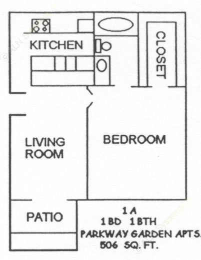 506 sq. ft. 1-1A floor plan
