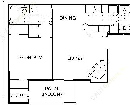 1,060 sq. ft. FXL floor plan