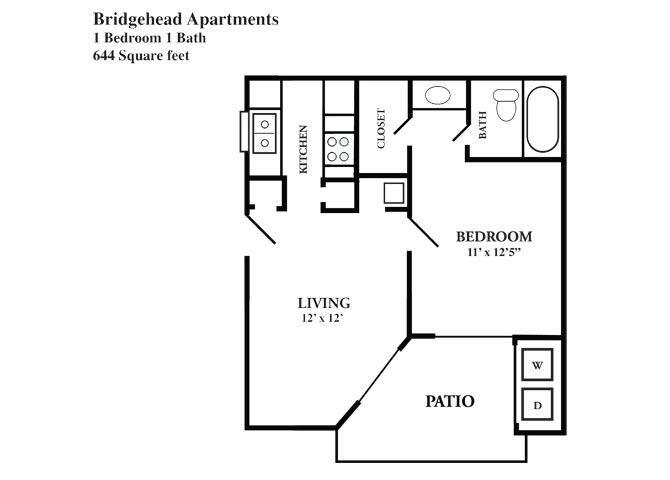 644 sq. ft. A floor plan