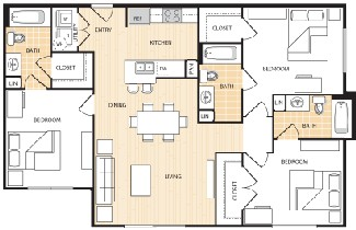 1,242 sq. ft. C1 floor plan