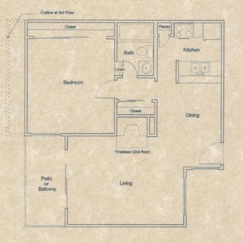 691 sq. ft. A2 floor plan