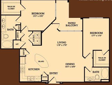 1,353 sq. ft. Bergstrom floor plan