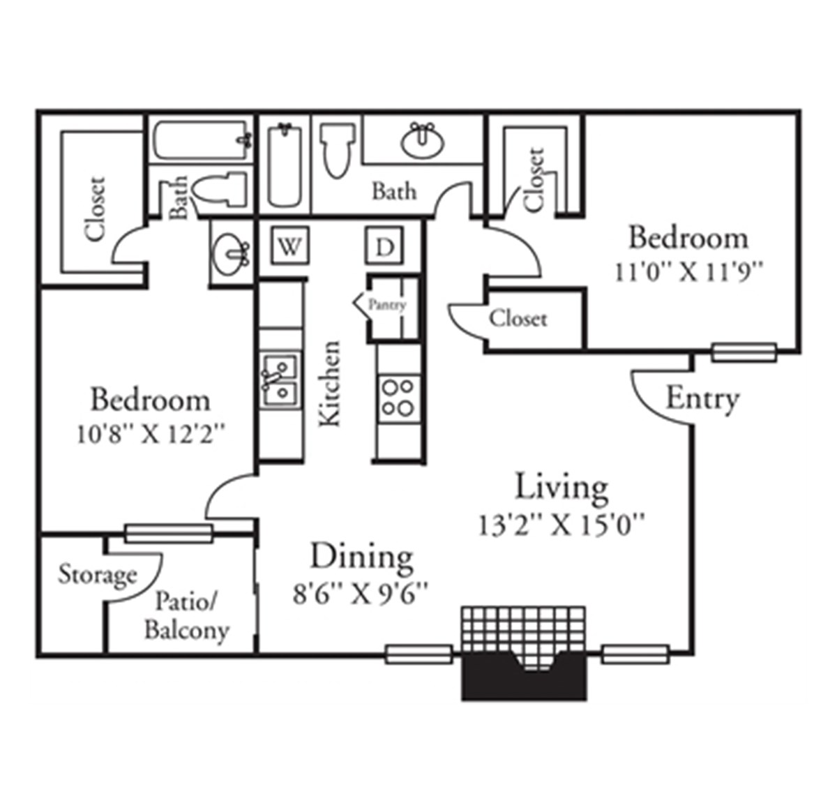 972 sq. ft. B2 floor plan