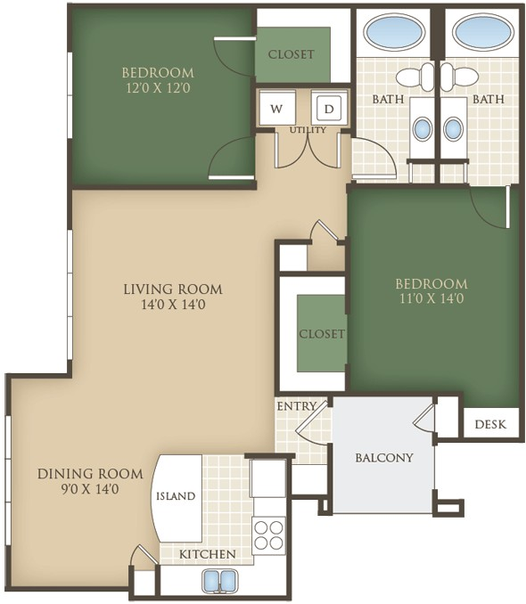 1,142 sq. ft. B3 floor plan