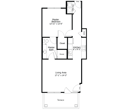 707 sq. ft. to 875 sq. ft. 3A3 floor plan