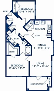 1,029 sq. ft. Maple floor plan