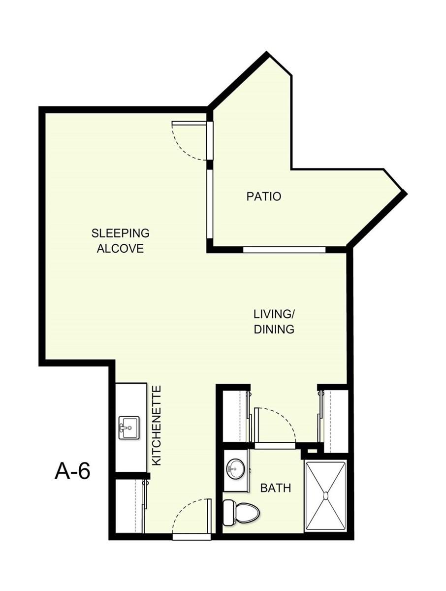 518 sq. ft. A6 floor plan