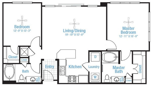 1,090 sq. ft. Terrabend floor plan
