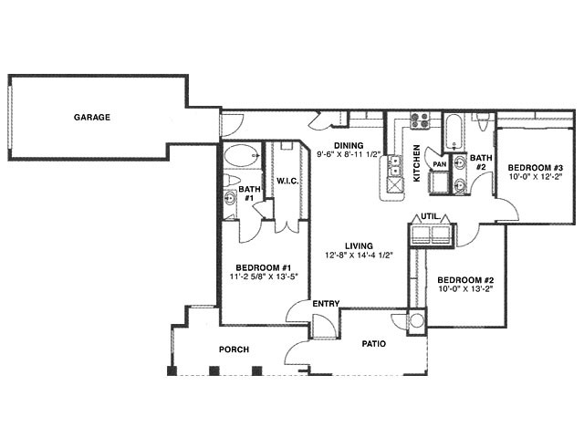 1,177 sq. ft. H/60% floor plan