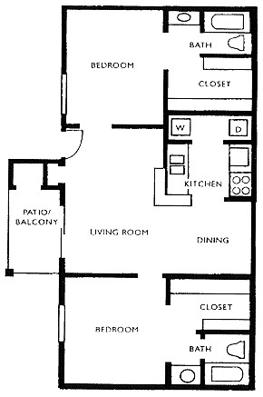 957 sq. ft. J1 floor plan