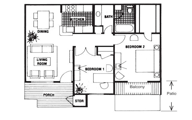 851 sq. ft. Lexington floor plan