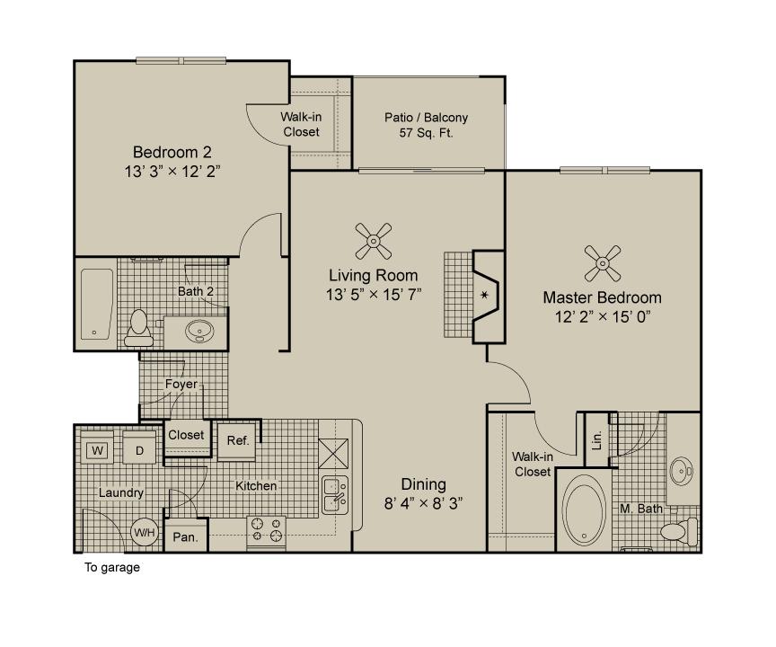 1,084 sq. ft. B2 floor plan