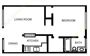574 sq. ft. A2 floor plan