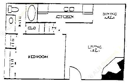 651 sq. ft. floor plan